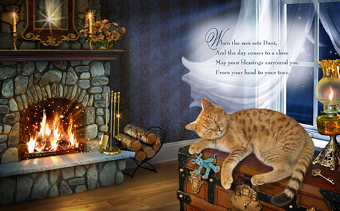Cat sleeping by fireplace