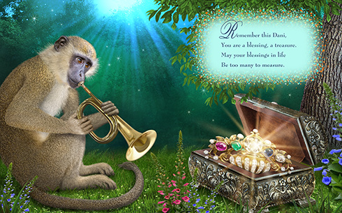 Monkey plays bugle